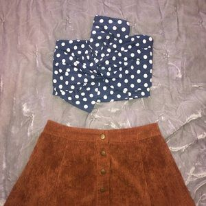 Navy and white polka dot crop top with bow detail